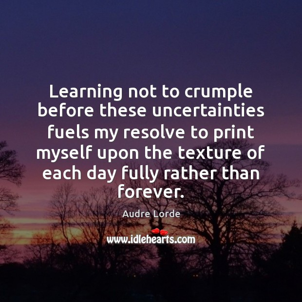 Learning not to crumple before these uncertainties fuels my resolve to print Audre Lorde Picture Quote