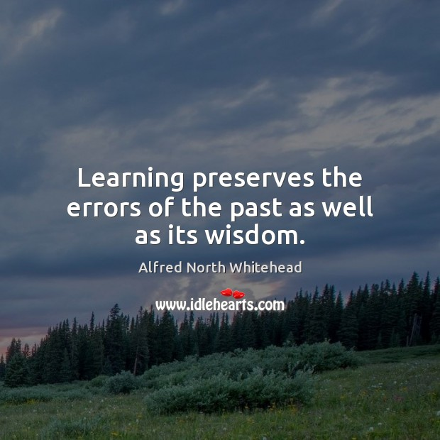 Learning preserves the errors of the past as well as its wisdom. Image