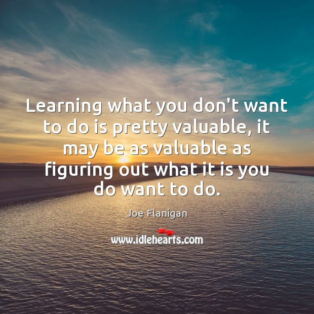 Image, Learning what you don't want to do is pretty valuable, it may