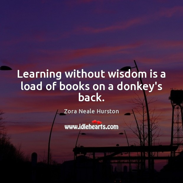 Learning without wisdom is a load of books on a donkey's back. Image