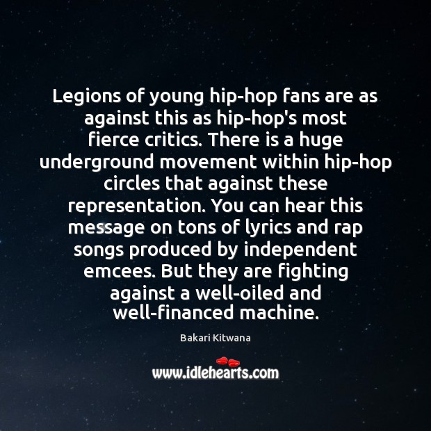 Image, Legions of young hip-hop fans are as against this as hip-hop's most