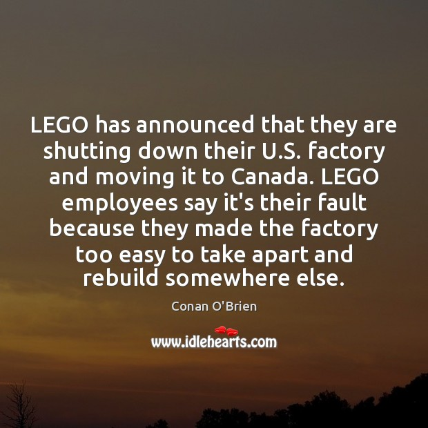 LEGO has announced that they are shutting down their U.S. factory Image