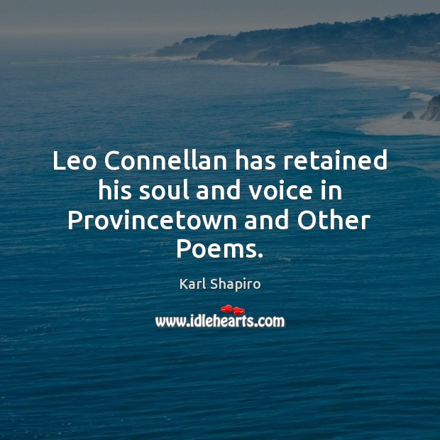 Leo Connellan has retained his soul and voice in Provincetown and Other Poems. Image