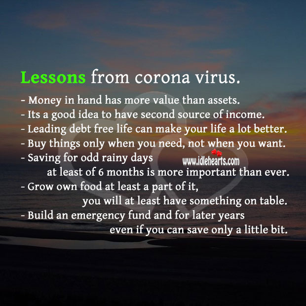 Lessons we can learn from the coronavirus pandemic. Hard Hitting Quotes