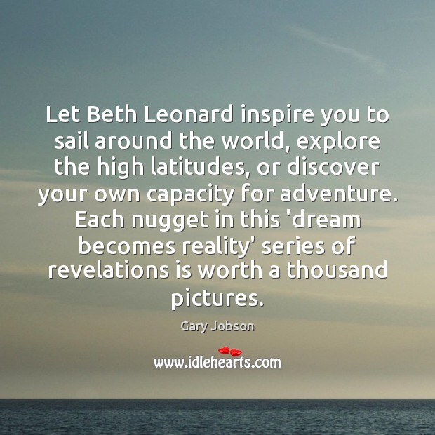 Image, Let Beth Leonard inspire you to sail around the world, explore the