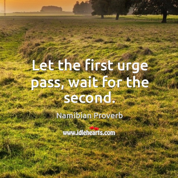 Let the first urge pass, wait for the second. Namibian Proverbs Image