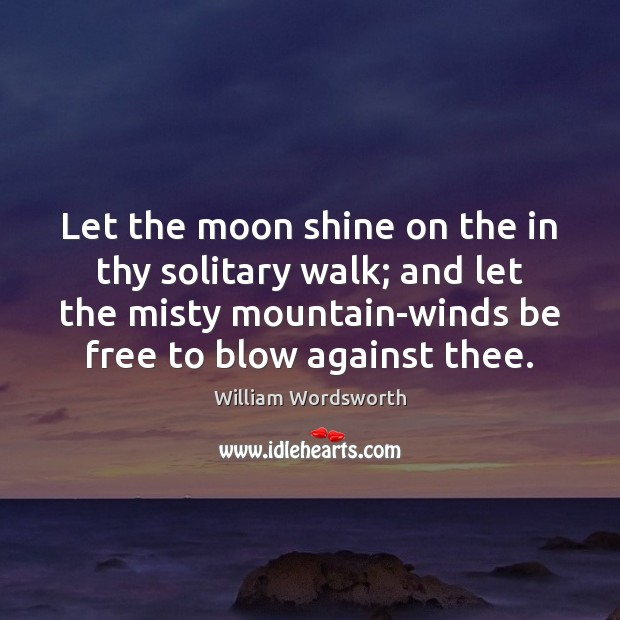 Let the moon shine on the in thy solitary walk; and let William Wordsworth Picture Quote