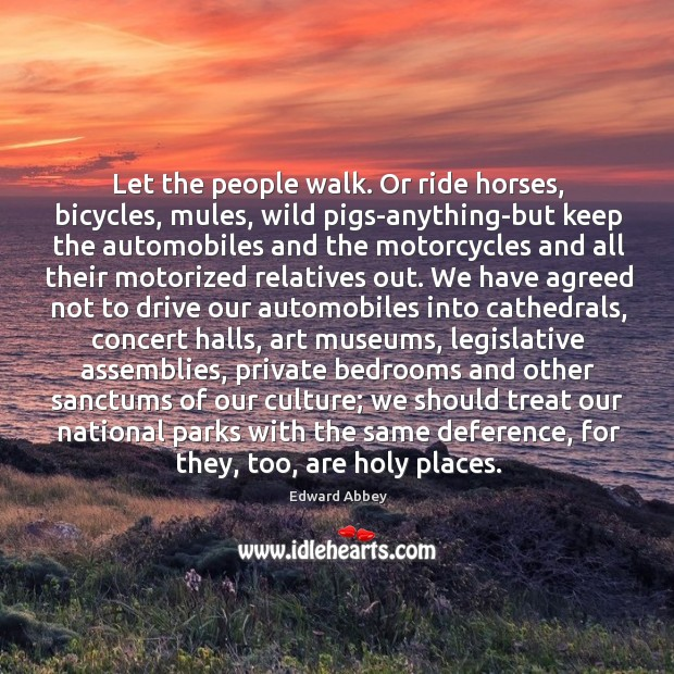 Let the people walk. Or ride horses, bicycles, mules, wild pigs-anything-but keep Image