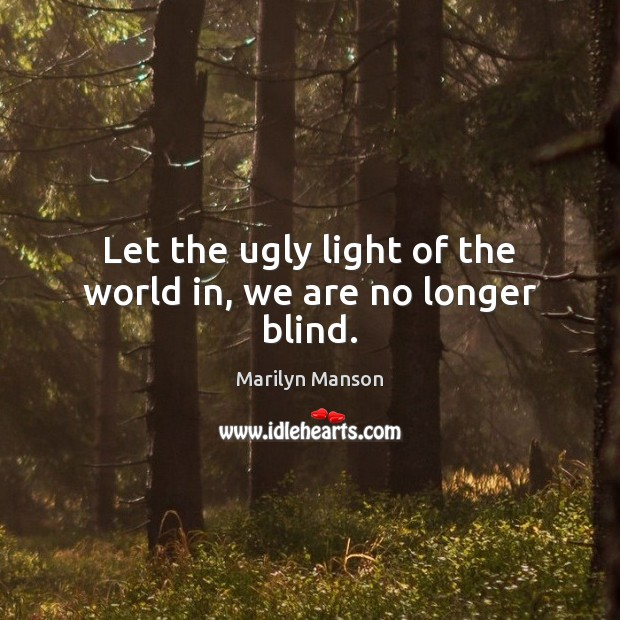 Image, Let the ugly light of the world in, we are no longer blind.