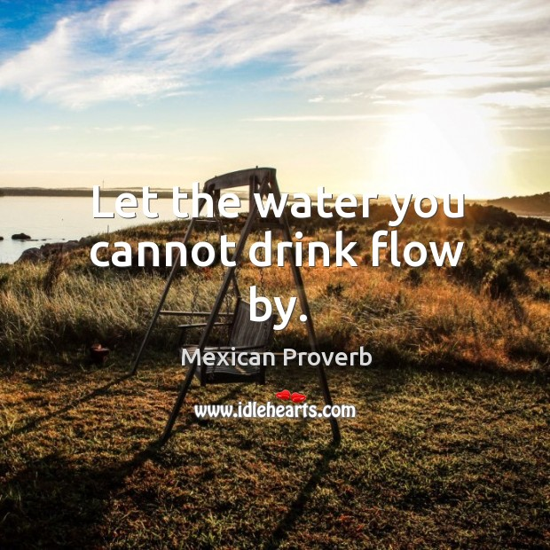 Let the water you cannot drink flow by. Mexican Proverbs Image