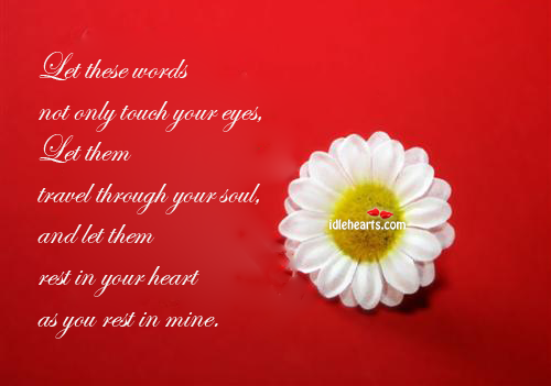 Let These Words Not Only Touch Your Eyes, Let Them…