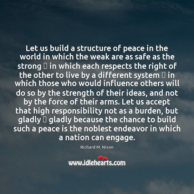 Image, Let us build a structure of peace in the world in which