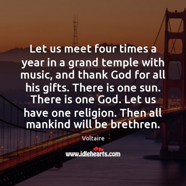 Let us meet four times a year in a grand temple with Image