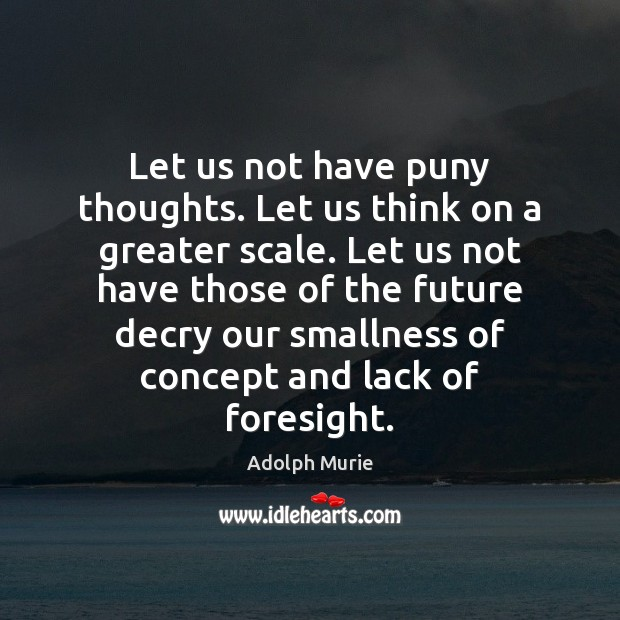 Image, Let us not have puny thoughts. Let us think on a greater