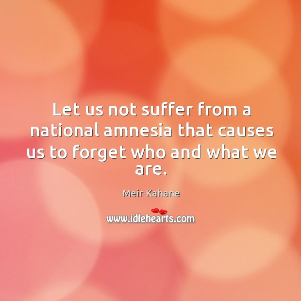 Let us not suffer from a national amnesia that causes us to forget who and what we are. Image