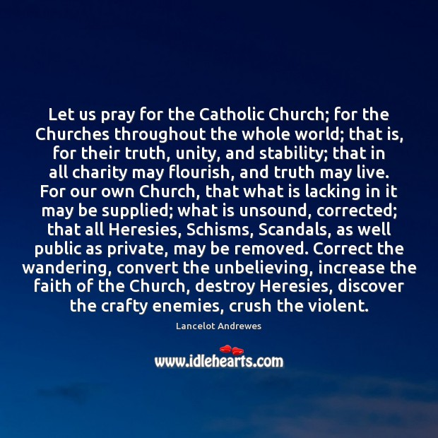 Image, Let us pray for the Catholic Church; for the Churches throughout the