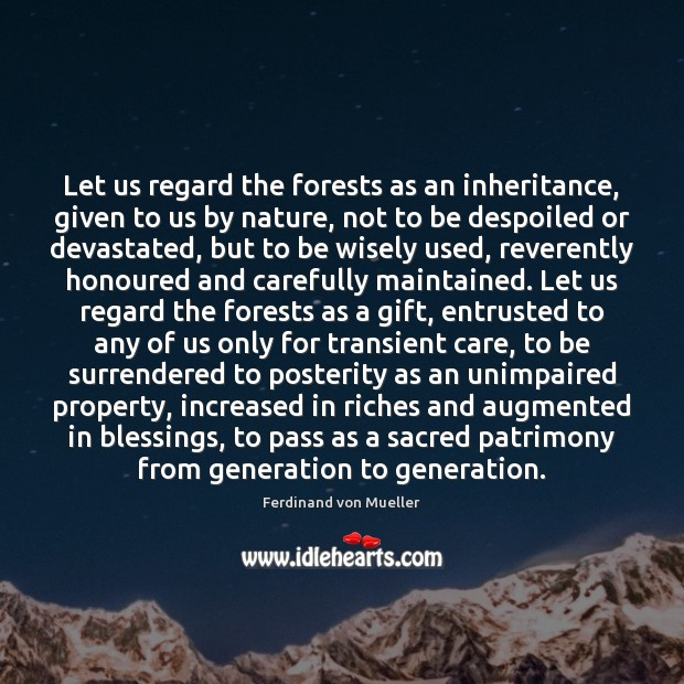 Let us regard the forests as an inheritance, given to us by Image
