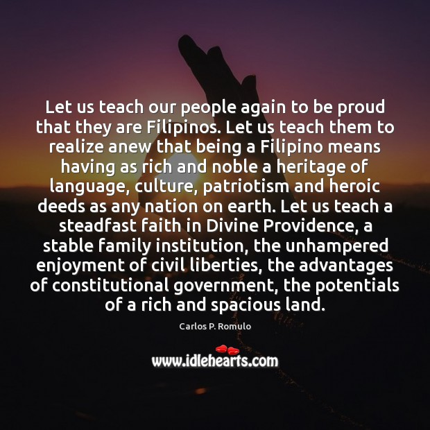 Let us teach our people again to be proud that they are Image