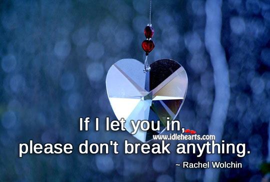 If I let you in, please don't break anything. Image