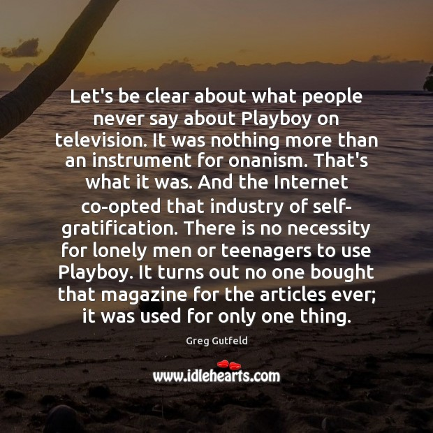 Let's be clear about what people never say about Playboy on television. Image