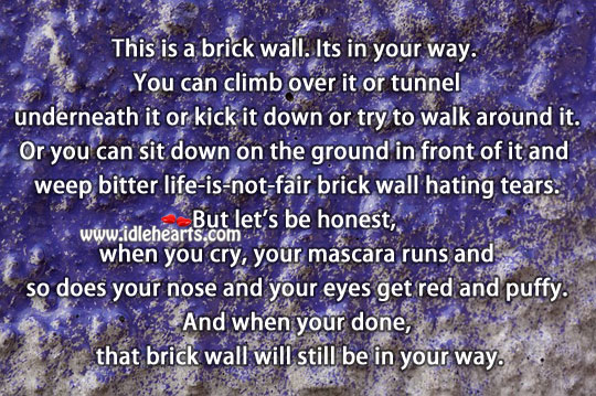 This is a brick wall. Its in your way. Life Messages Image