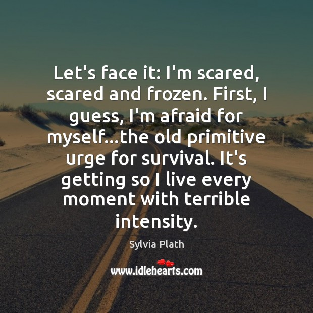 Let's face it: I'm scared, scared and frozen. First, I guess, I'm Image