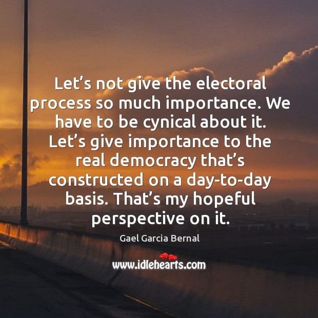 Let's not give the electoral process so much importance. We have to be cynical about it. Image