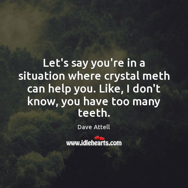 Let's say you're in a situation where crystal meth can help you. Dave Attell Picture Quote