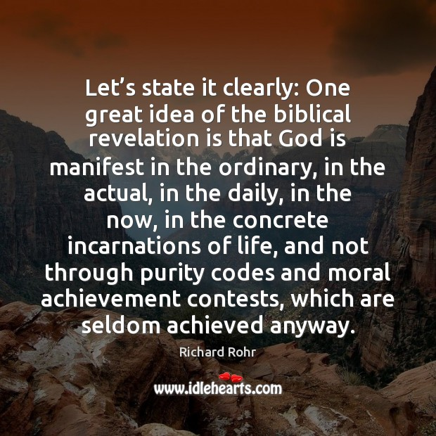 Let's state it clearly: One great idea of the biblical revelation Image