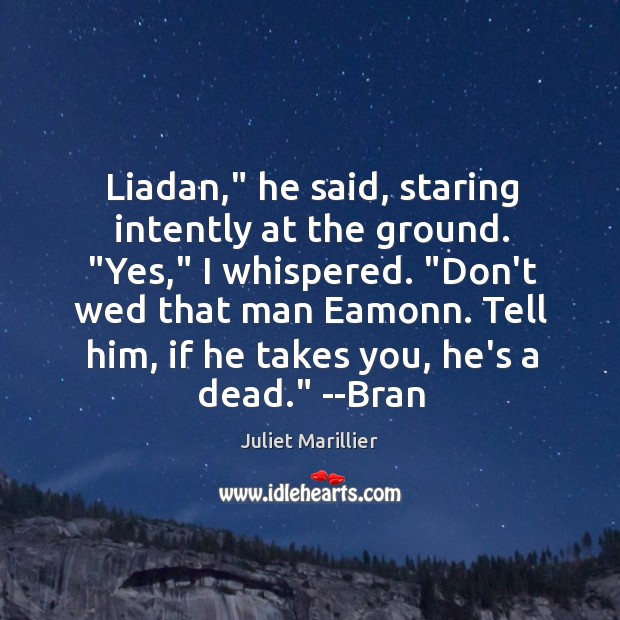 """Liadan,"""" he said, staring intently at the ground. """"Yes,"""" I whispered. """"Don't Image"""