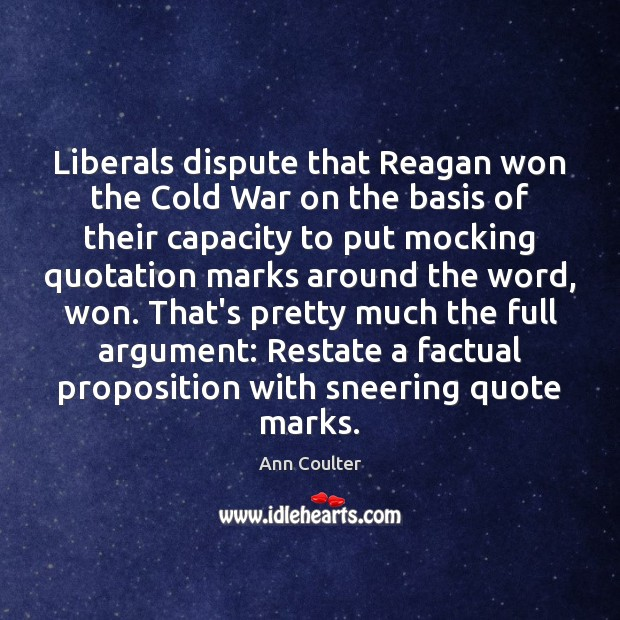 Liberals dispute that Reagan won the Cold War on the basis of Image