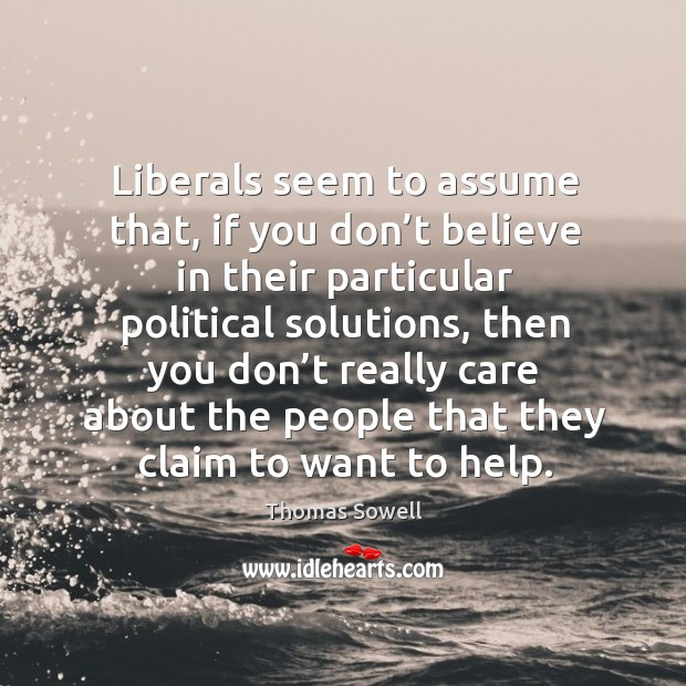 Image, Liberals seem to assume that, if you don't believe in their particular political solutions