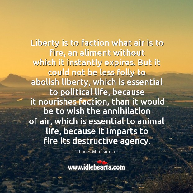 Liberty is to faction what air is to fire, an aliment without which it instantly expires. James Madison Jr Picture Quote