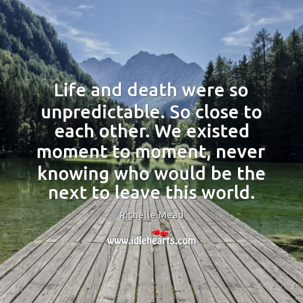 Life and death were so unpredictable. So close to each other. We Richelle Mead Picture Quote