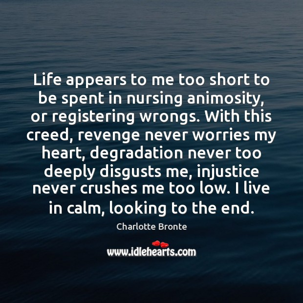 Life appears to me too short to be spent in nursing animosity, Charlotte Bronte Picture Quote