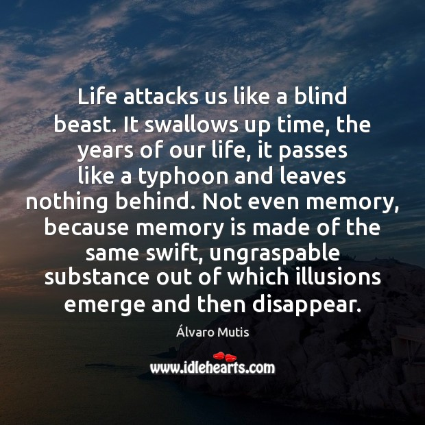Life attacks us like a blind beast. It swallows up time, the Image