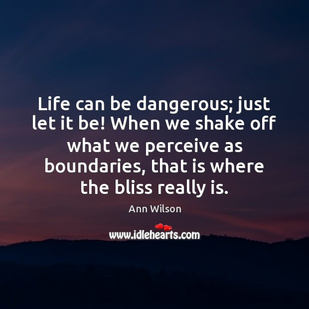 Image, Life can be dangerous; just let it be! When we shake off
