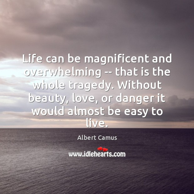 Life can be magnificent and overwhelming — that is the whole tragedy. Albert Camus Picture Quote