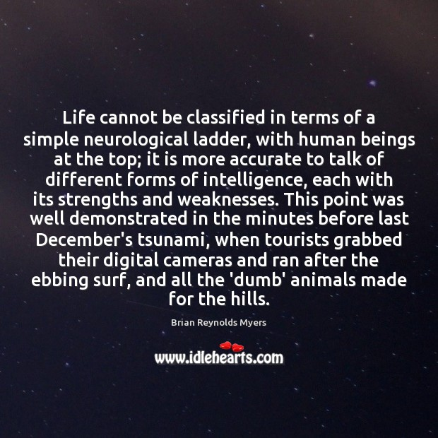 Image, Life cannot be classified in terms of a simple neurological ladder, with