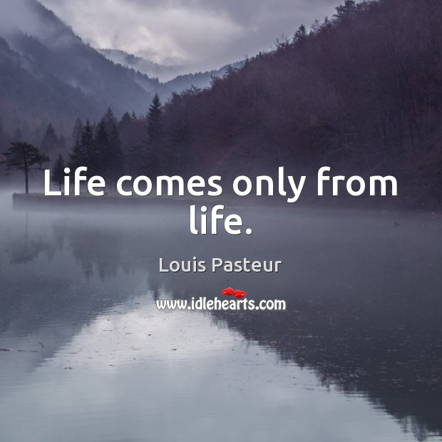 Life comes only from life. Louis Pasteur Picture Quote