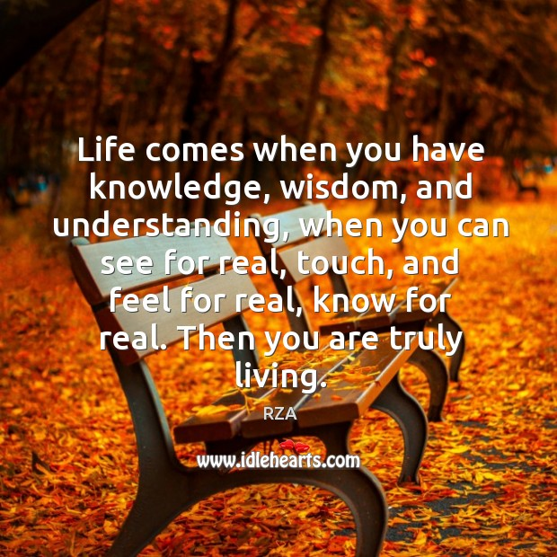 Image, Life comes when you have knowledge, wisdom, and understanding, when you can