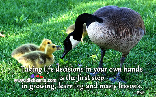 Taking own decisions is the first step in growing. Advice Quotes Image