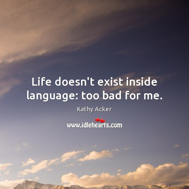 Life doesn't exist inside language: too bad for me. Image
