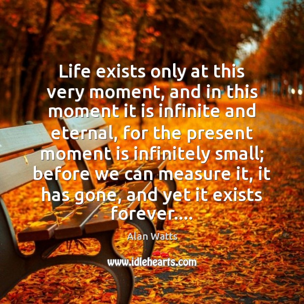 Life exists only at this very moment, and in this moment it Alan Watts Picture Quote