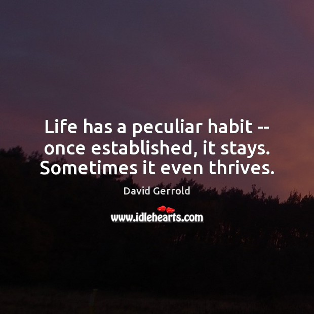 Life has a peculiar habit — once established, it stays. Sometimes it even thrives. David Gerrold Picture Quote