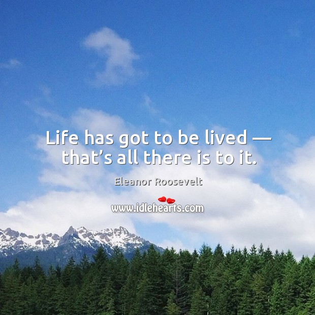 Image, Life has got to be lived — that's all there is to it.
