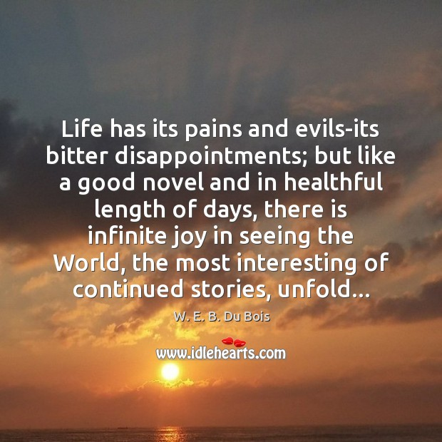 Life has its pains and evils-its bitter disappointments; but like a good W. E. B. Du Bois Picture Quote
