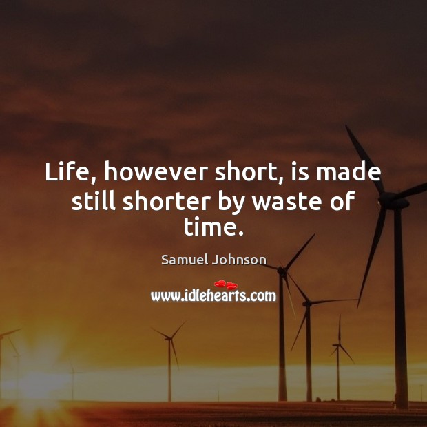 Life, however short, is made still shorter by waste of time. Image