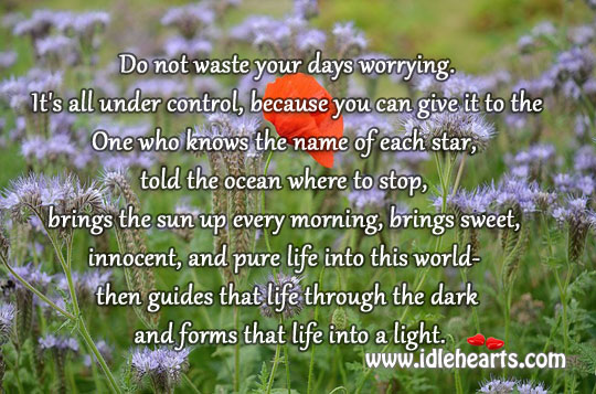 Image, Do not waste your days worrying.