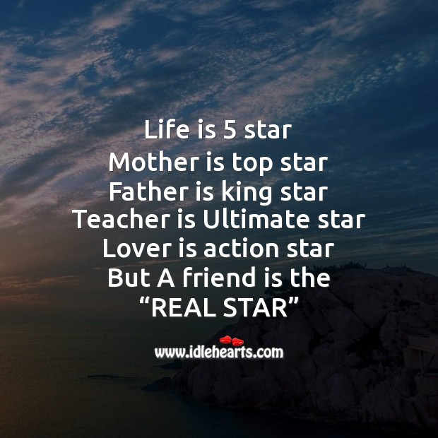 Life is 5 star mother is top star Friendship Messages Image